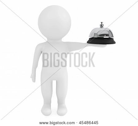 3D Small Character With A Service Bell