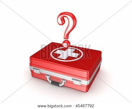 Red query mark on a medical suitcase.