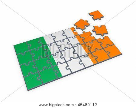 Irish flag made of puzzles.