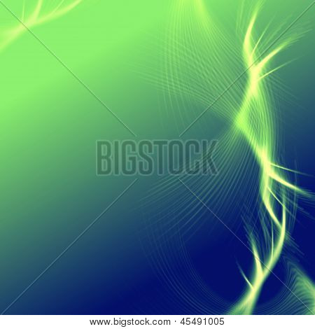 Green Blue Background With Lights And Lines