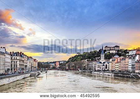 Saone River In Lyon City At Sunset