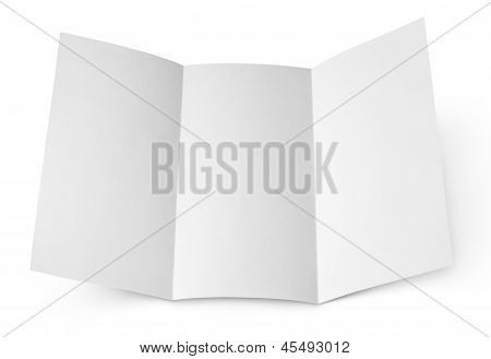 Blank Folded Flyer On White