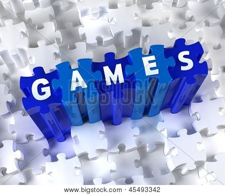 Creative 3D pieces of puzzle and word GAMES