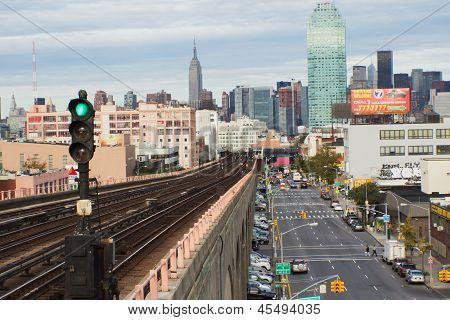 View Of Morning Traffic On Queens  Boulevard (nyc)