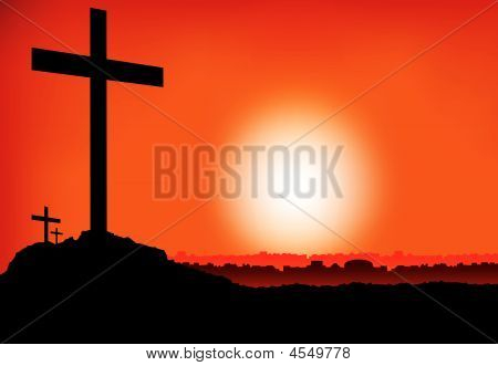 Easter 3 Crosses At Sunset