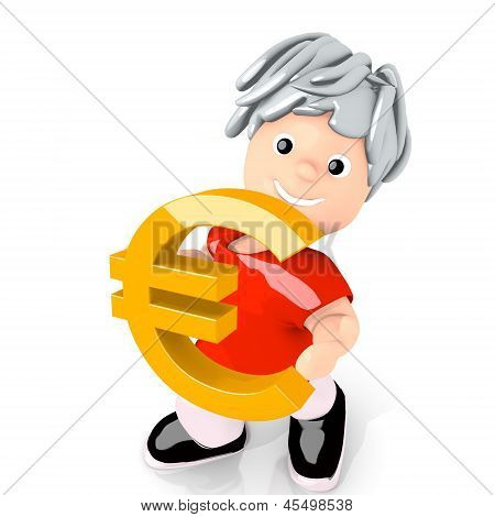 Illustration of a isolated Euro symbol  carried by a cute boy