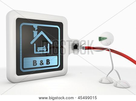 bed and breakfast symbol with futuristic 3d character