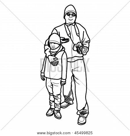 Man And Boy - Hand Drawn