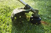 stock photo of grass-cutter  - Mowing a lawn with a lawn mower - JPG