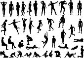 stock photo of human body  - Collection of naked human body vector silhouettes - JPG