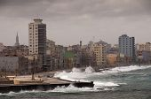 stock photo of malecon  - Dramatic weather with big waves at cuban Malecon - JPG