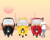 image of rickshaw  - an illustration of a row of parked auto rickshaws in different colors with an asian taxi driver in a white shirt under an urban setting sun - JPG