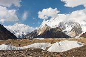 stock photo of skardu  - K2 and Broad Peak from Concordia in the Karakorum Mountains Pakistan - JPG