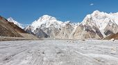 stock photo of skardu  - Broad Peak and Vigne Glacier in the Karakorum Range Pakistan - JPG