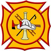 foto of maltese-cross  - Yellow Maltese Cross with Center Scramble of Helmet Bugle Ladder Axe and Hook - JPG