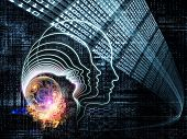 stock photo of homo  - Arrangement of outlines of human head technological and fractal elements on the subject of artificial intelligence computer science and future technologies - JPG