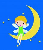 pic of faerie  - Illustration of a cute little fairy sitting at moon - JPG