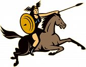 picture of valkyrie  - Illustration of valkyrie of Norse mythology female rider warriors riding horse with spear done in retro style - JPG