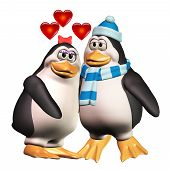 image of snuggle  - Two cute cartoon penguins snuggle up together with hearts floating above them - JPG
