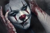stock photo of clown face  - Close up portraite of a scary clown make - JPG