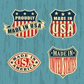 Made in America �¢�?�? set of badges and labels. EPS 8, CMYK