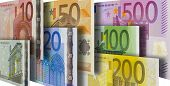 picture of number 7  - seven single euro currency bank notes flying - JPG