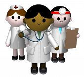 picture of medical examination  - 3D illustration of a team of medical professionals - JPG