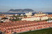 stock photo of urbanisation  - Spanish town Algeciras and Gibraltar in the background - JPG