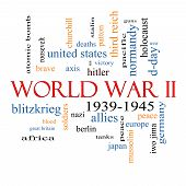 stock photo of hitler  - World War II Word Cloud Concept with great terms such as guns axis allies victory and more - JPG