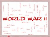 pic of iwo  - World War II Word Cloud Concept on a Whiteboard with great terms such as guns axis allies victory and more - JPG
