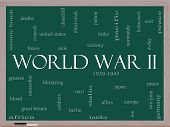 stock photo of mussolini  - World War II Word Cloud Concept on a Blackboard with great terms such as guns axis allies victory and more - JPG