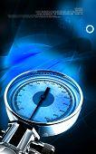 picture of bp  - Digital illustration of sphygmomanometer in colour background - JPG