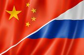 China und Russland-Flagge