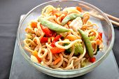 stock photo of lo mein  - Chicken lo mein in a bowl with chopsticks - JPG