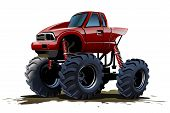 pic of monster-truck  - Vector Cartoon Monster Truck isolated on white background - JPG