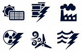 stock photo of hydro-electric  - An icon set with six icons representing power and energy generation types - JPG