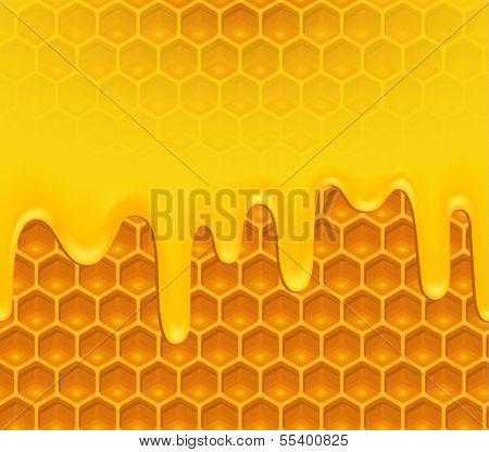 Background of melting honey on honeycomb pattern - raster version