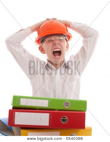 Screaming Teenager In Helmet With Office Folders