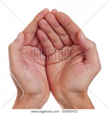 man hands begging on a white background