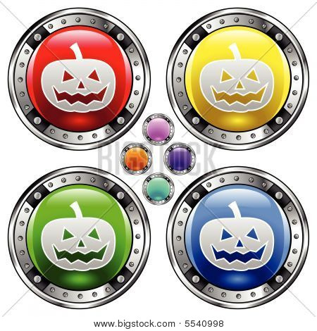 Halloween pumpkin on colorful button