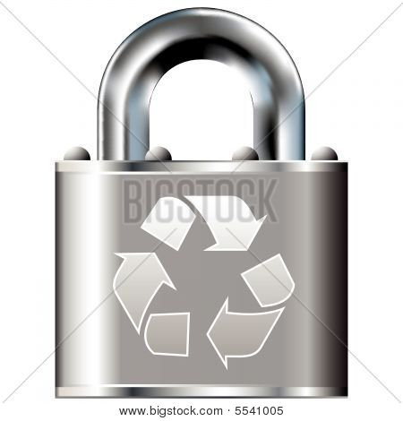 Recycle symbol on secure lock
