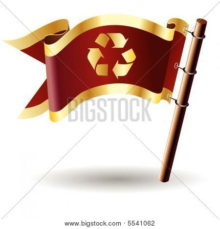 Recycle symbol on royal flag