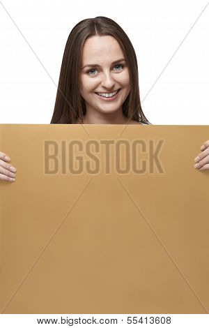 Woman With Golden Billboard