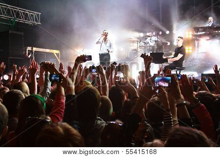 MINSK, BELARUS - MARCH 15: The Iceland electronic band Gus Gus performs in Re:public club in Minsk