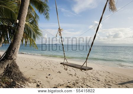 Rope swing on beach; Koh Pha Ngan; Thailand