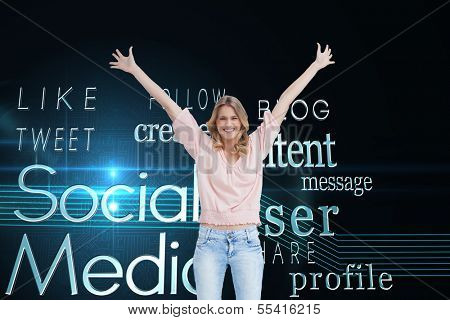 Composite image of a full length shot of a smiling woman who has her arms raised up