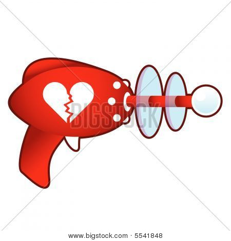 Broken heart on retro raygun