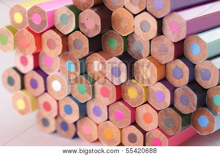 Assorted Colored Pencils in an isolated white background