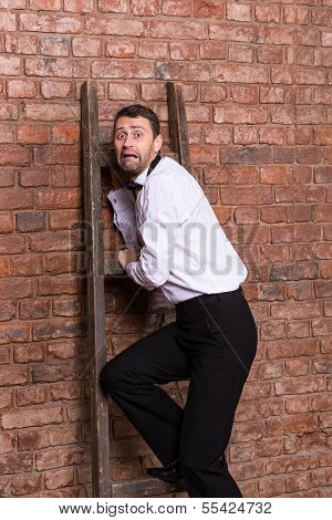 Terrified Man Trapped At The Top Of A Ladder
