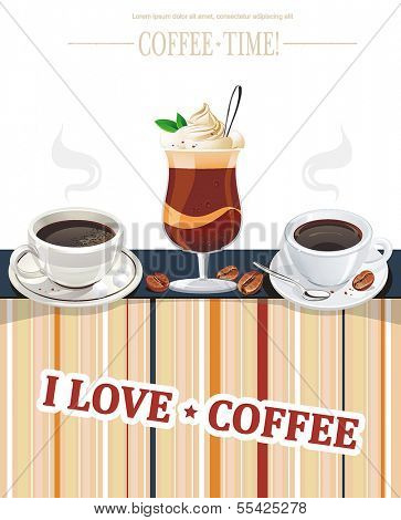 Cappuccino card for restaurant, cafe, bar, coffeehouse. Vector illustration